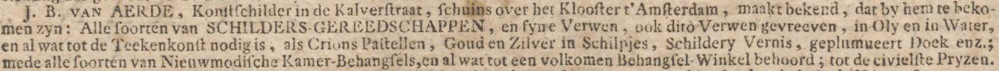 Advertentie J.B. van Aerde (1774)