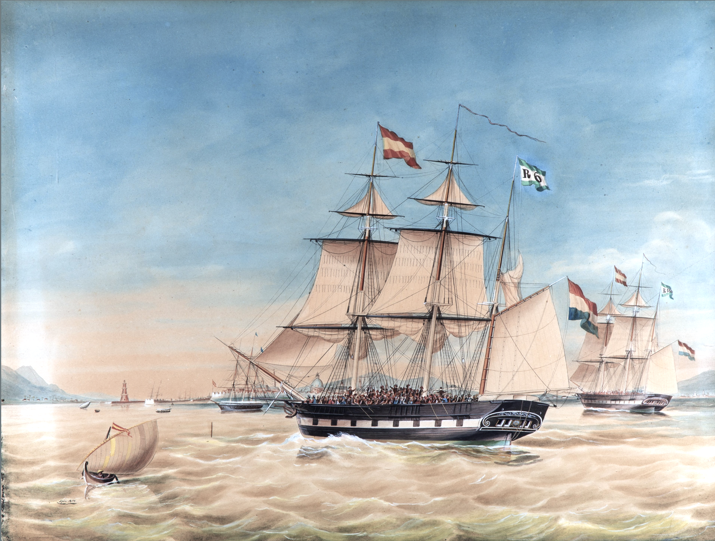 Rotterdam barques Reijerwaard and Gouverneur Generaal Rochussen, commanded by captains Wierikx and Rijken, arriving in Manila, Philippines with over 300 Spanish deportees of the 1848 uprisings.