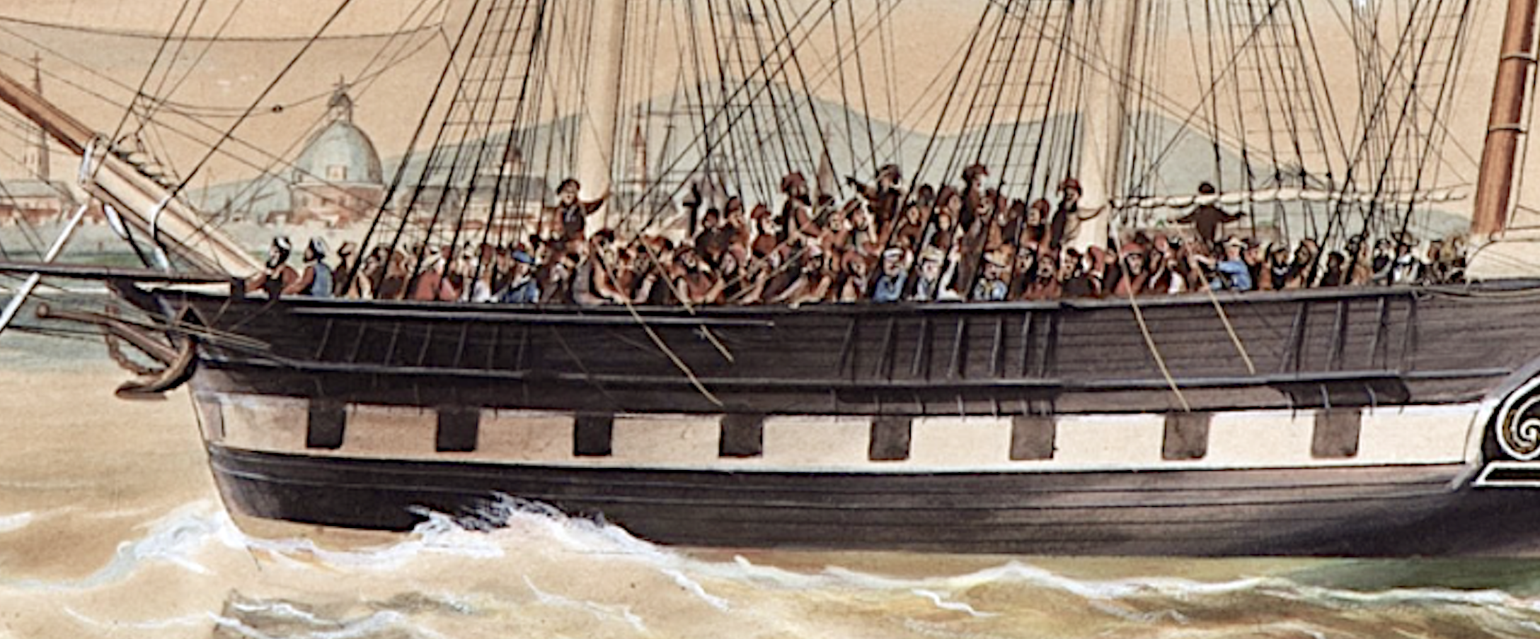 Detail of deported Spanish revolutionaries of 1848 onboard the Dutch barque Reijerwaard arriving in the Philippines.